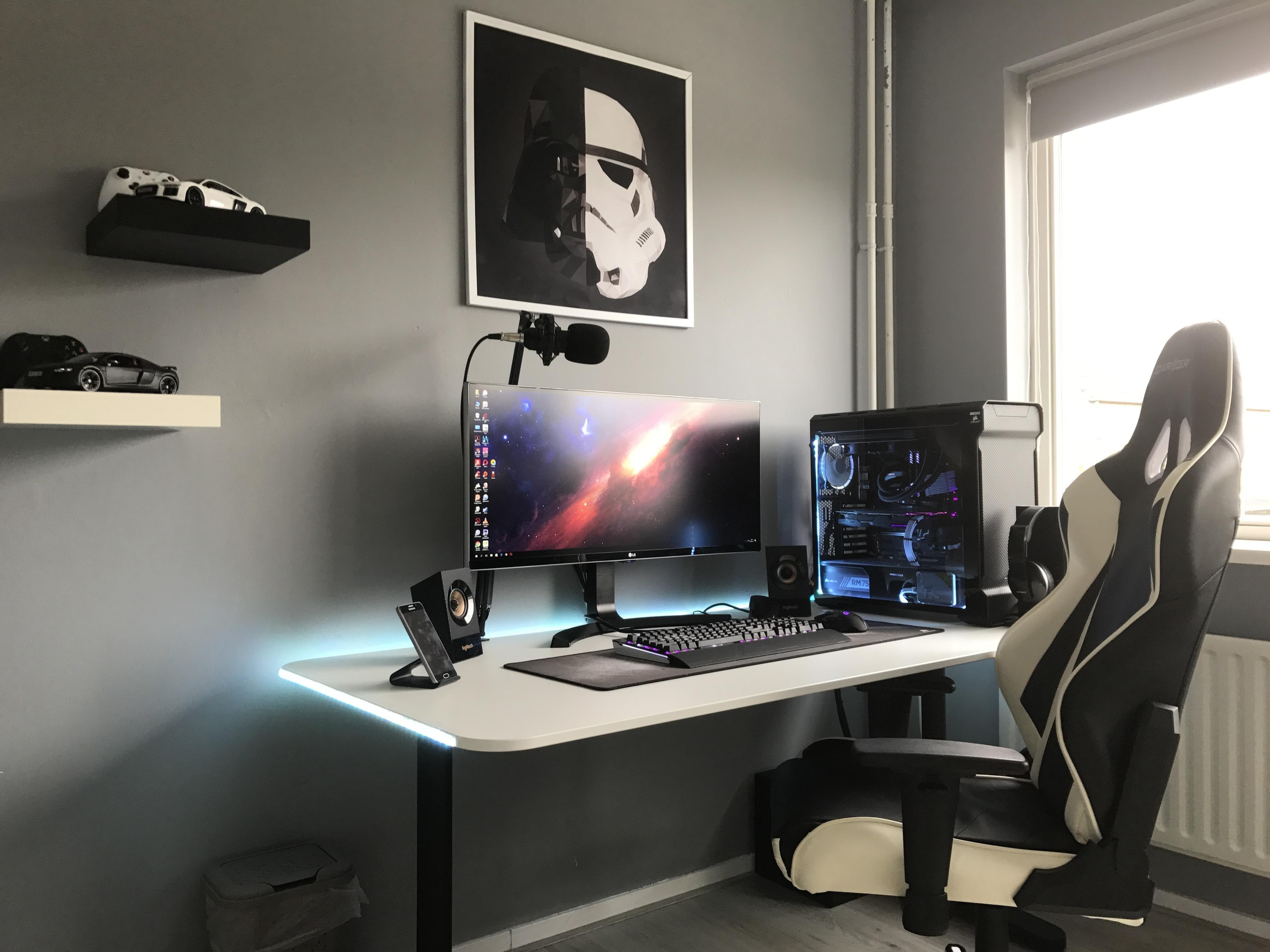 White Gaming Desk Setup