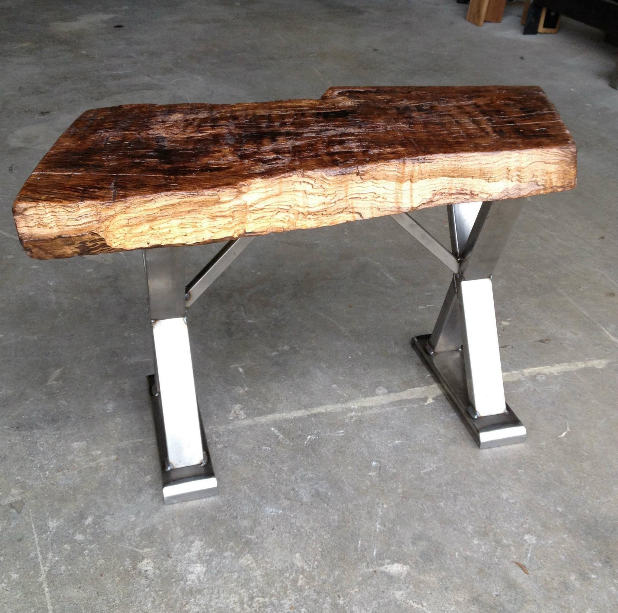 Well Liked Chrome Cross X Base Legs Reclaimed Wood Table On Gray Concrete  Floors As