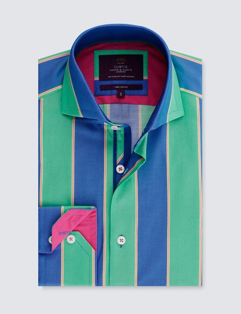 92052ad17e Men's Curtis Blue & Green Multi Stripe Slim Fit smart Casual Shirt - High  Collar - Single Cuff