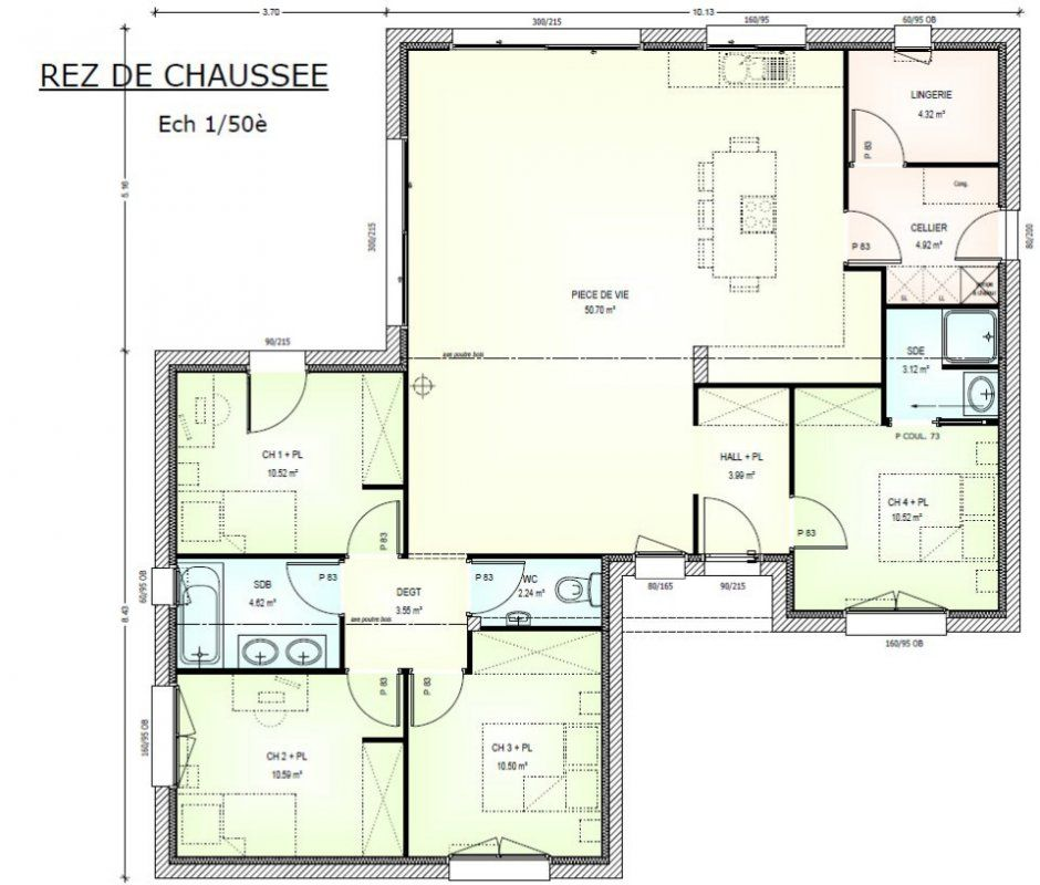 Plan achat maison neuve à construire - Maisons Bernard Jambert Avan - plan maison 110m2 etage
