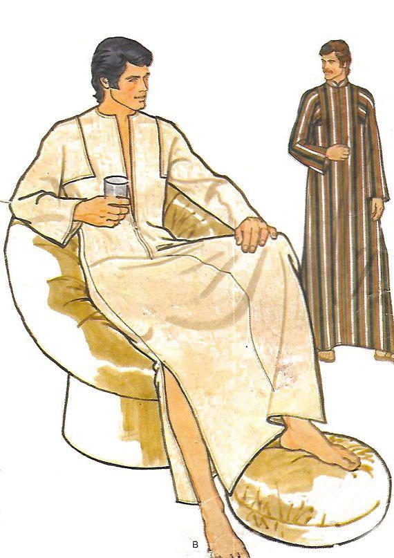 Vintage Men\'s Sewing Pattern Caftan Kaftan Medium | Vintage Sew Bee ...