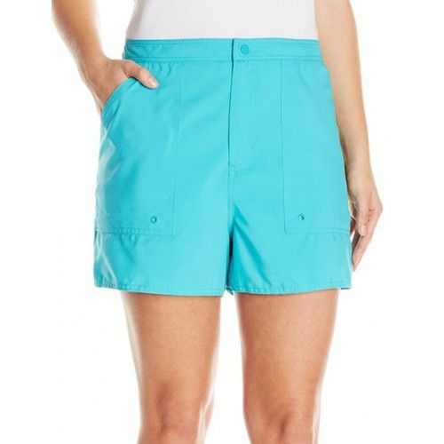 e9a55d93a7 Maxine of Hollywood Plus Solid Woven Board Shorts Turquoise   Maxine ...