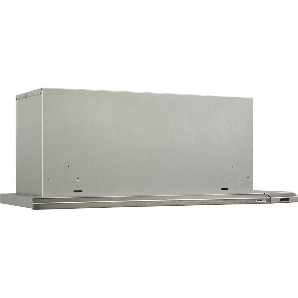 Broan Elite 15000 Silhouette 36 In Under Cabinet Slide Out Range Hood With Light In Brushed Aluminum 153604 Broan Range Hood Brushed Aluminum