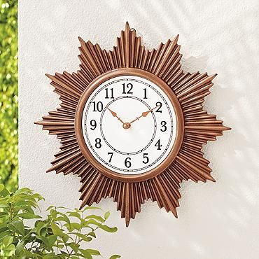 Sunburst Outdoor Wall Clock
