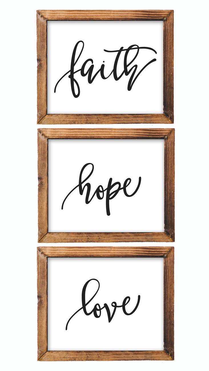 Printable Wall Art Faith Hope Love Nursery