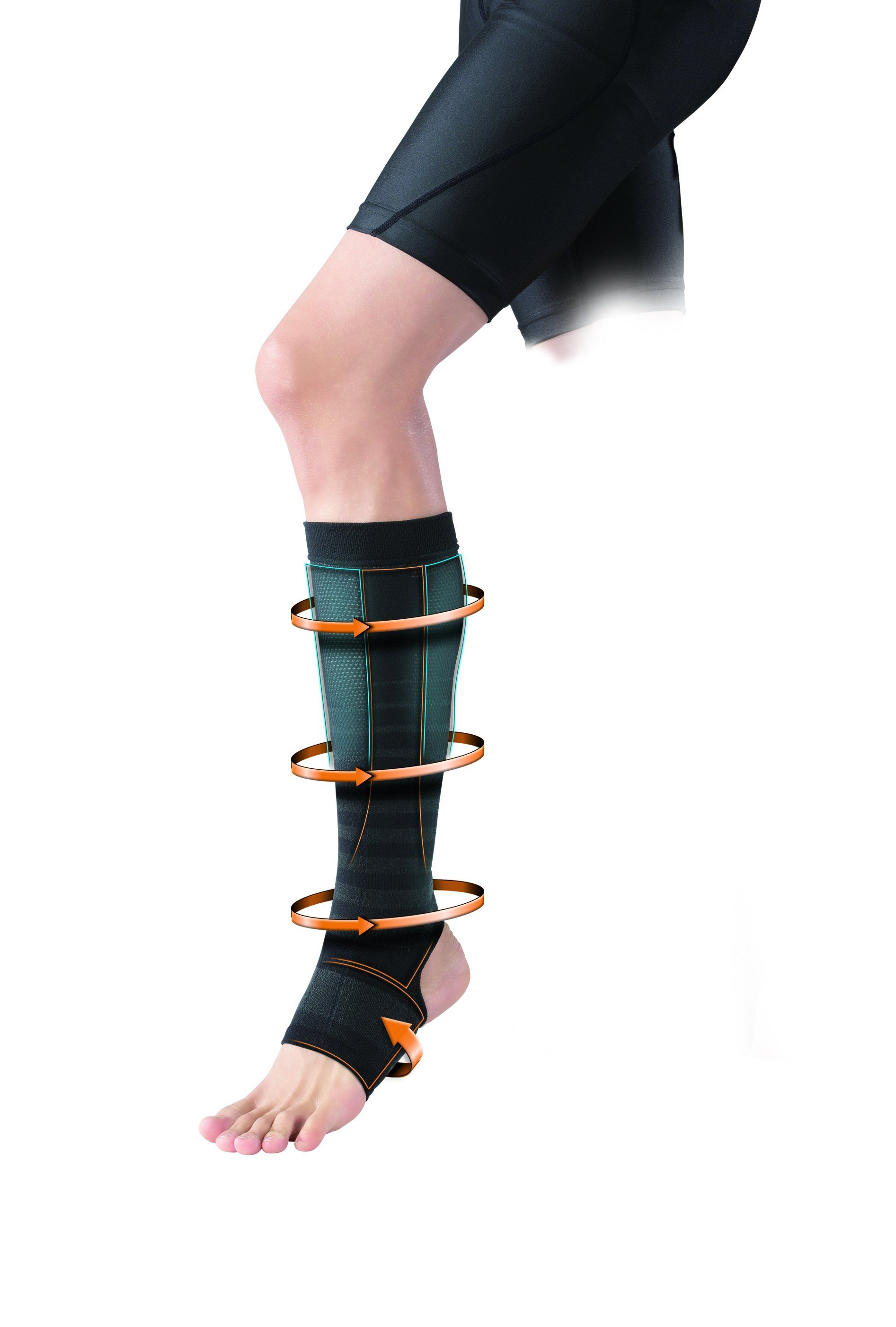 Calf Sleeve After, permeated with Phiten unique Aqua Titanium Technology to relieve aches and pain and regulates blood circulation for recovery.