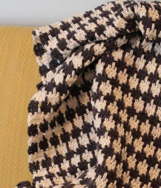 crochet houndstooth blanket