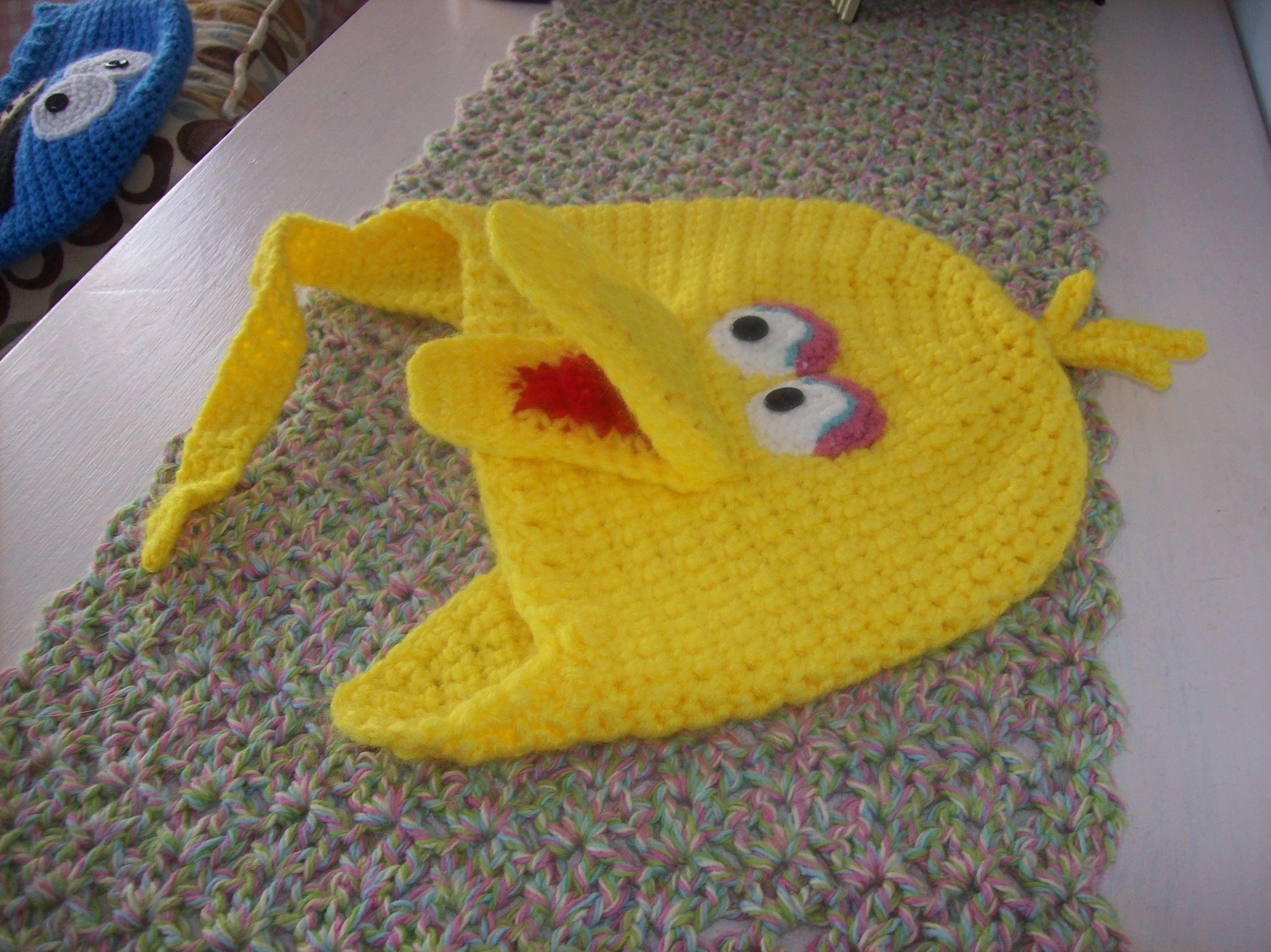 3afc73e7 Crochet: Big Bird, Sesame Street - My original pattern Crochet Animal Hats,  Crochet