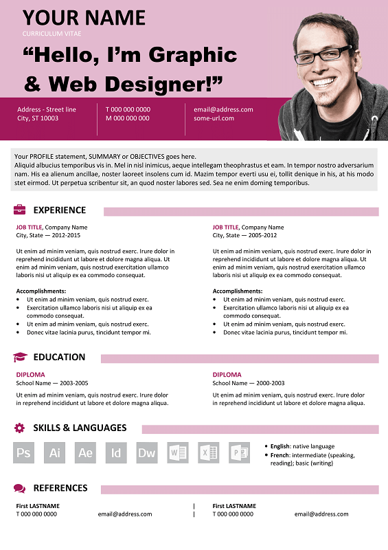 Astoria Free Resume Template Microsoft Word  Purple Layout