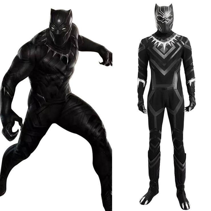 Superhero T/'Challa Wakanda King Black Panther Cosplay Jumpsuit Adults Costume
