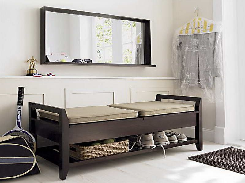 Entryway Bench With Storage Leather Shoes