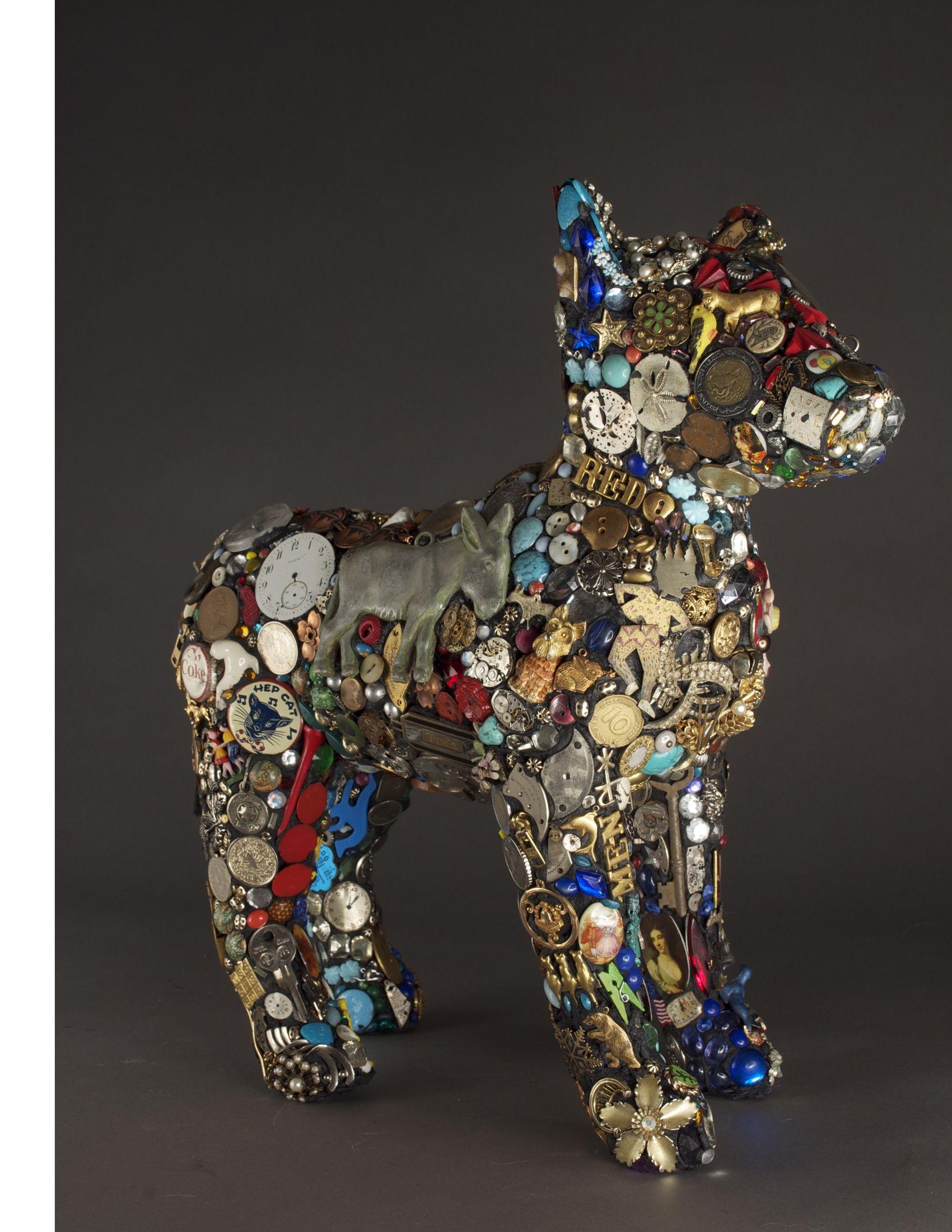 Mary engel jeffrey dog sculpture art mixed media