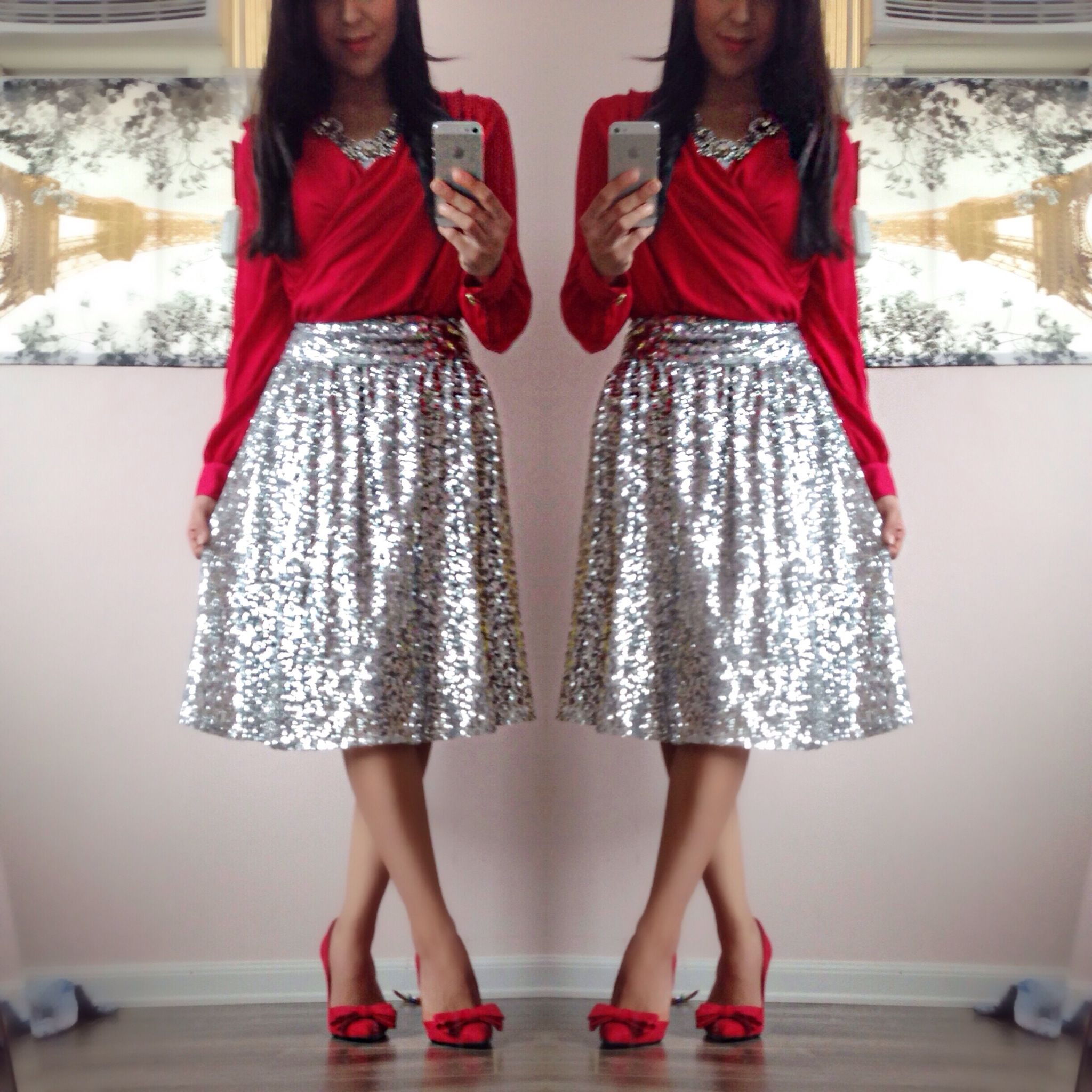 ✨Modest Holiday Outfits✨ Silver midi sequin skirt! | My Style ...