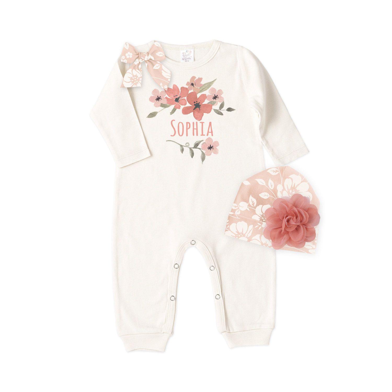Personalized Newborn Take Home Outfit Newborn Girl Primrose Romper