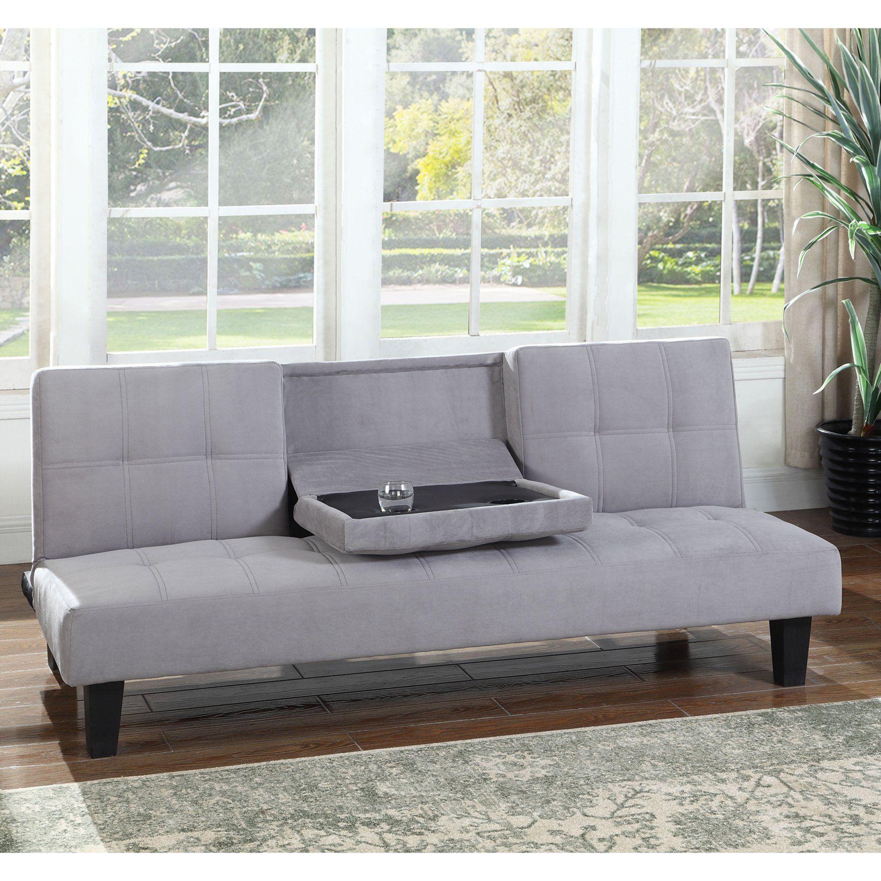 Furniture Emili Tufted Grey Suede