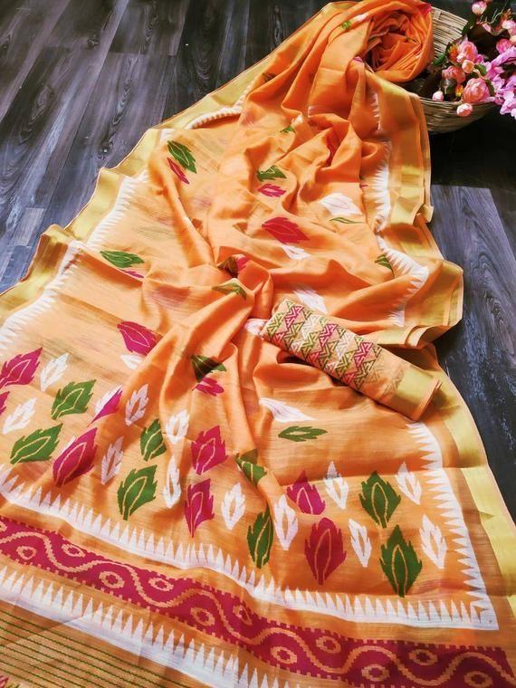Photo of Linen zari patta saree, partywear saree, wedding saree, saree blouse, bridal saree, ethnic ware, New saree, designers saree,light oran saree