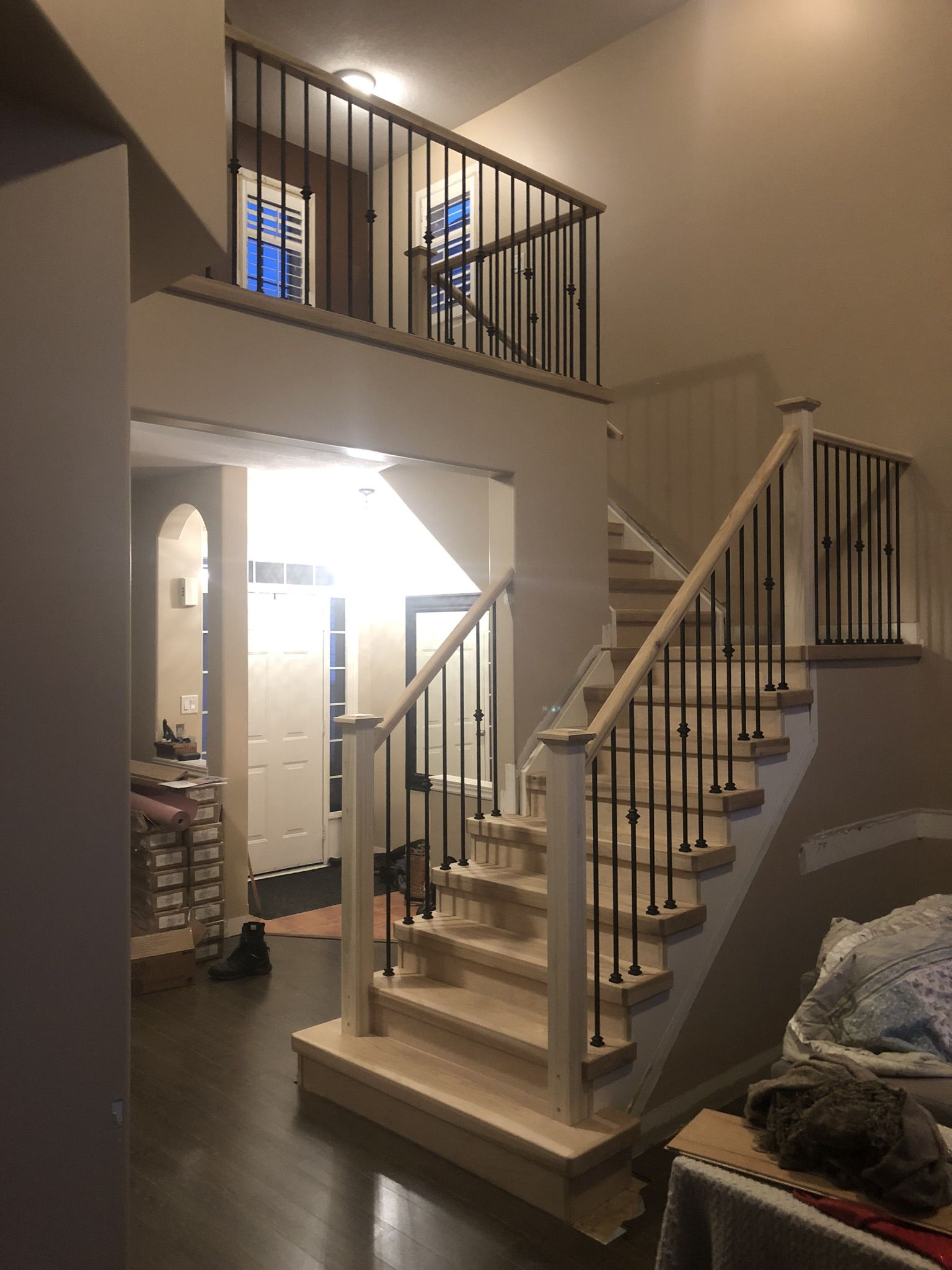 Unfinished Hickory Staircase Installed New Steps Staining   Unfinished Hickory Stair Treads   Stair Nosing   Stairtek   Flooring   Stair Parts   Wood