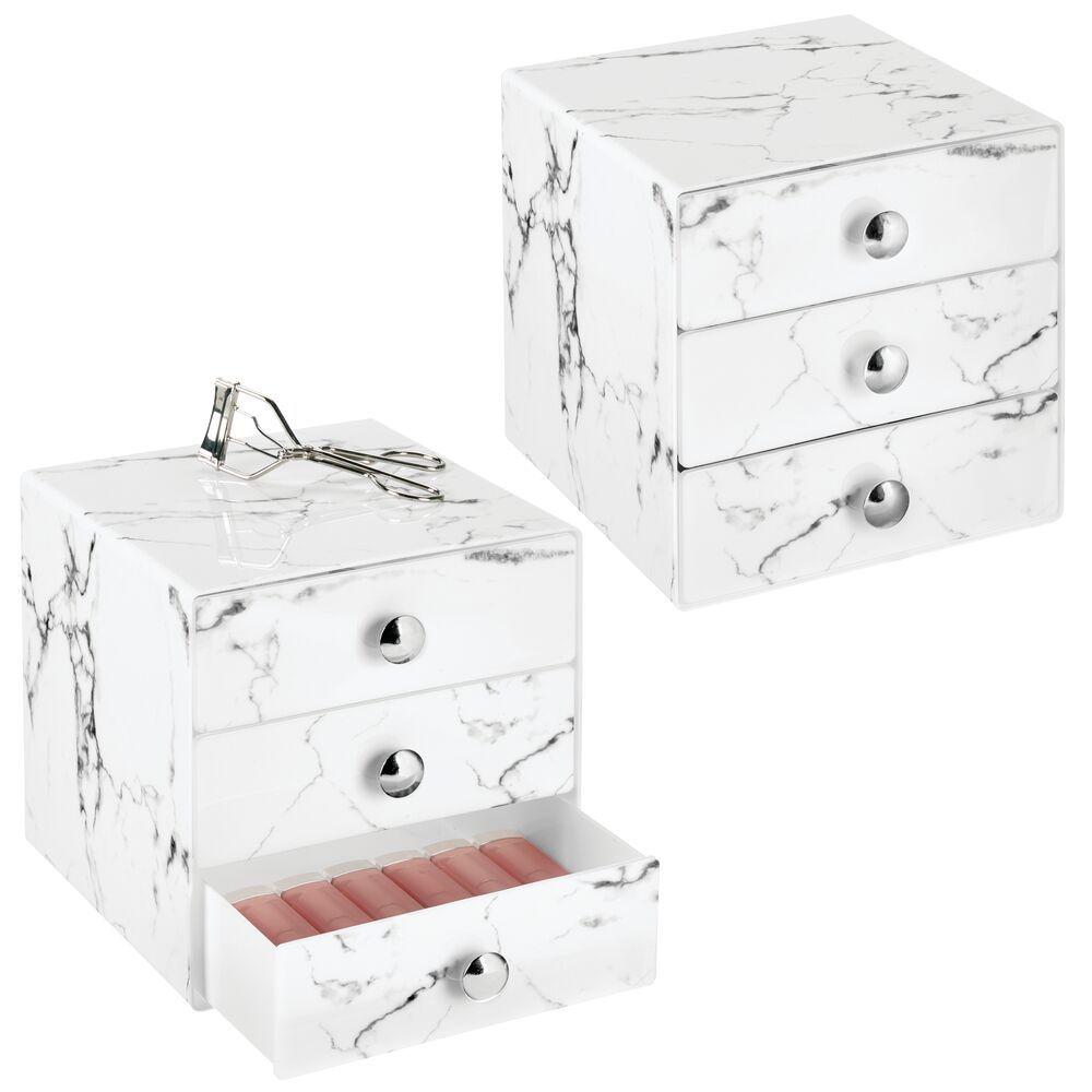 3 Drawer Plastic Makeup Cosmetic Organizer In Marble Print