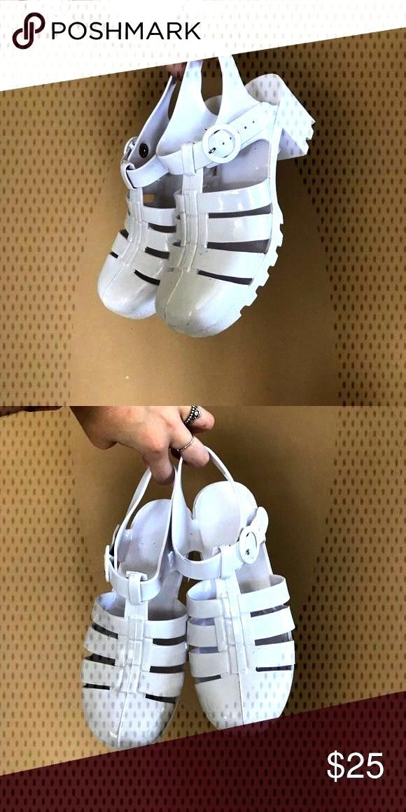 White Sandals With Heel Used for couple of shoots. 100% Authentic American..., Jelly White Sandals