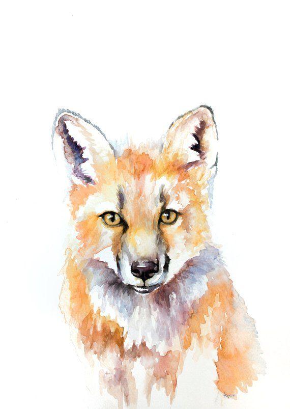 Fox Art Print Aquarell Tiere Zeichnungen Aquarell Malen