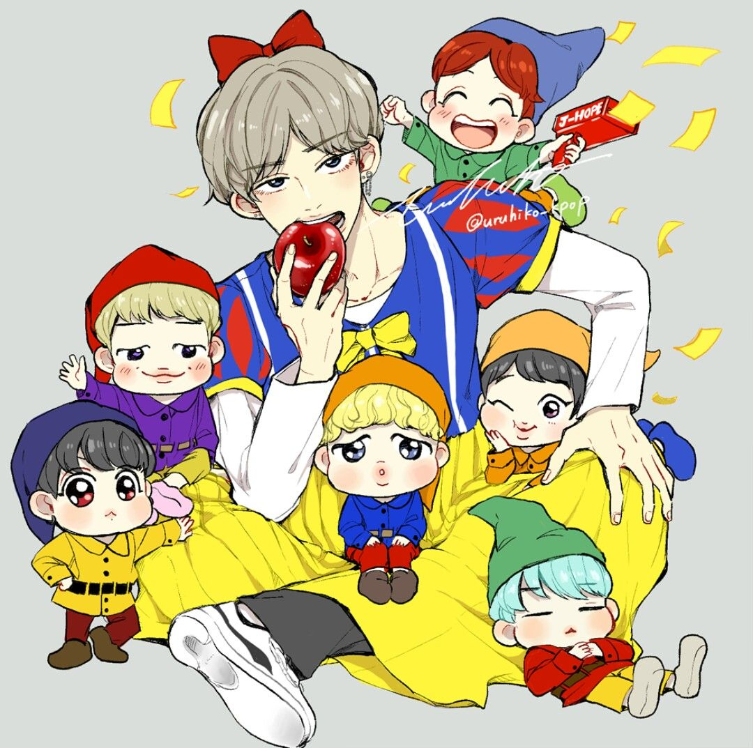 Snow white and the 6 dwarfs Bts desenho, Chibi bts, V chibi