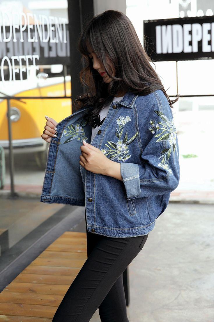 d7378a3469223 Flower Denim Jacket