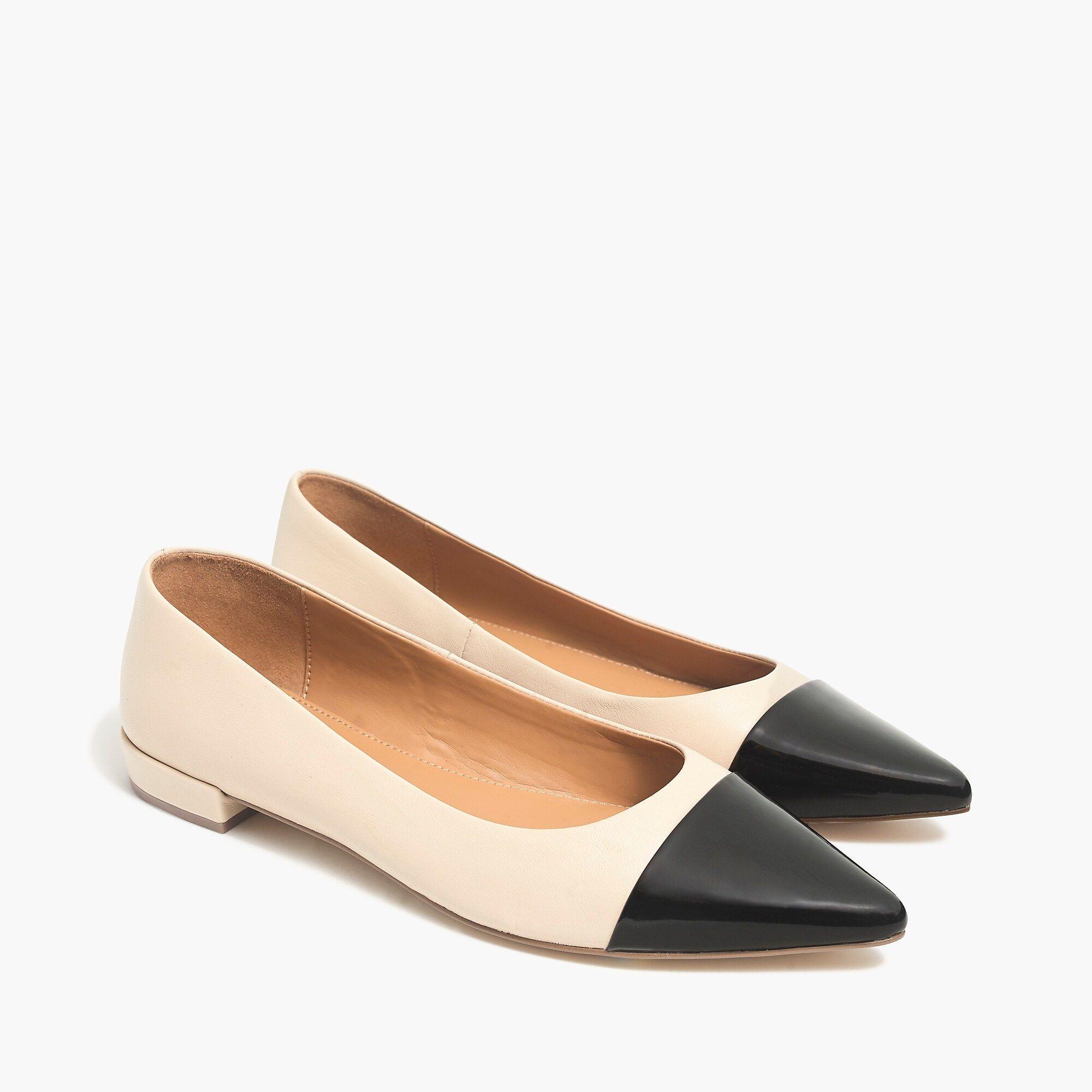Marina leather pointy cap-toe flats