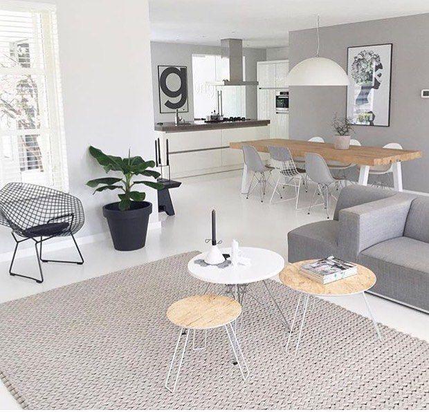 Kleed zwart wit hout grijs  Moodboard woonkamer