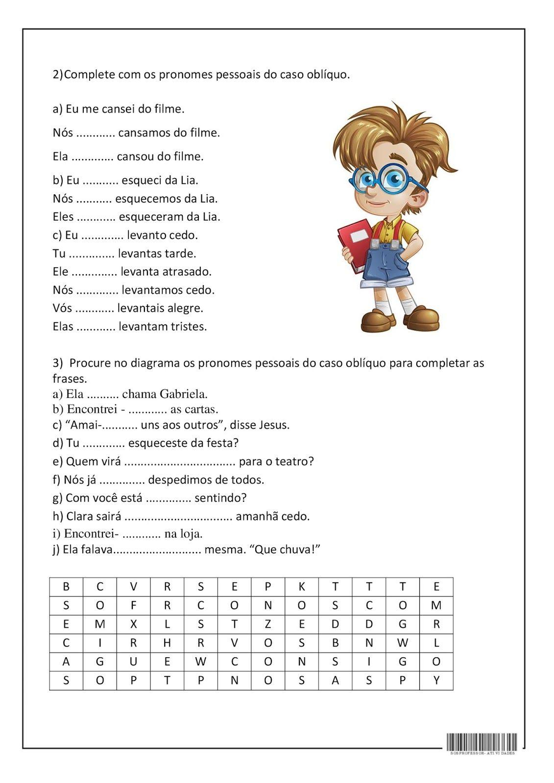 Pronomes Obliquos Com Imagens Atividades Pronomes Pronomes