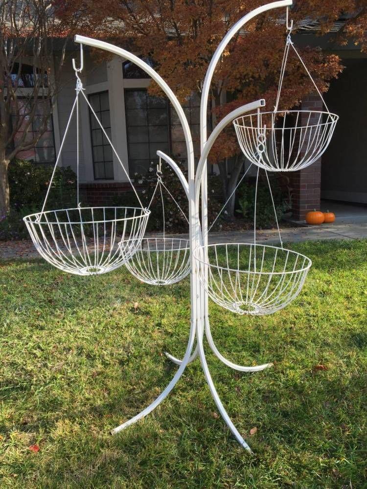 Rare Vintage Wrought Iron Plant Stand Hanging Basket Hooks Woodard