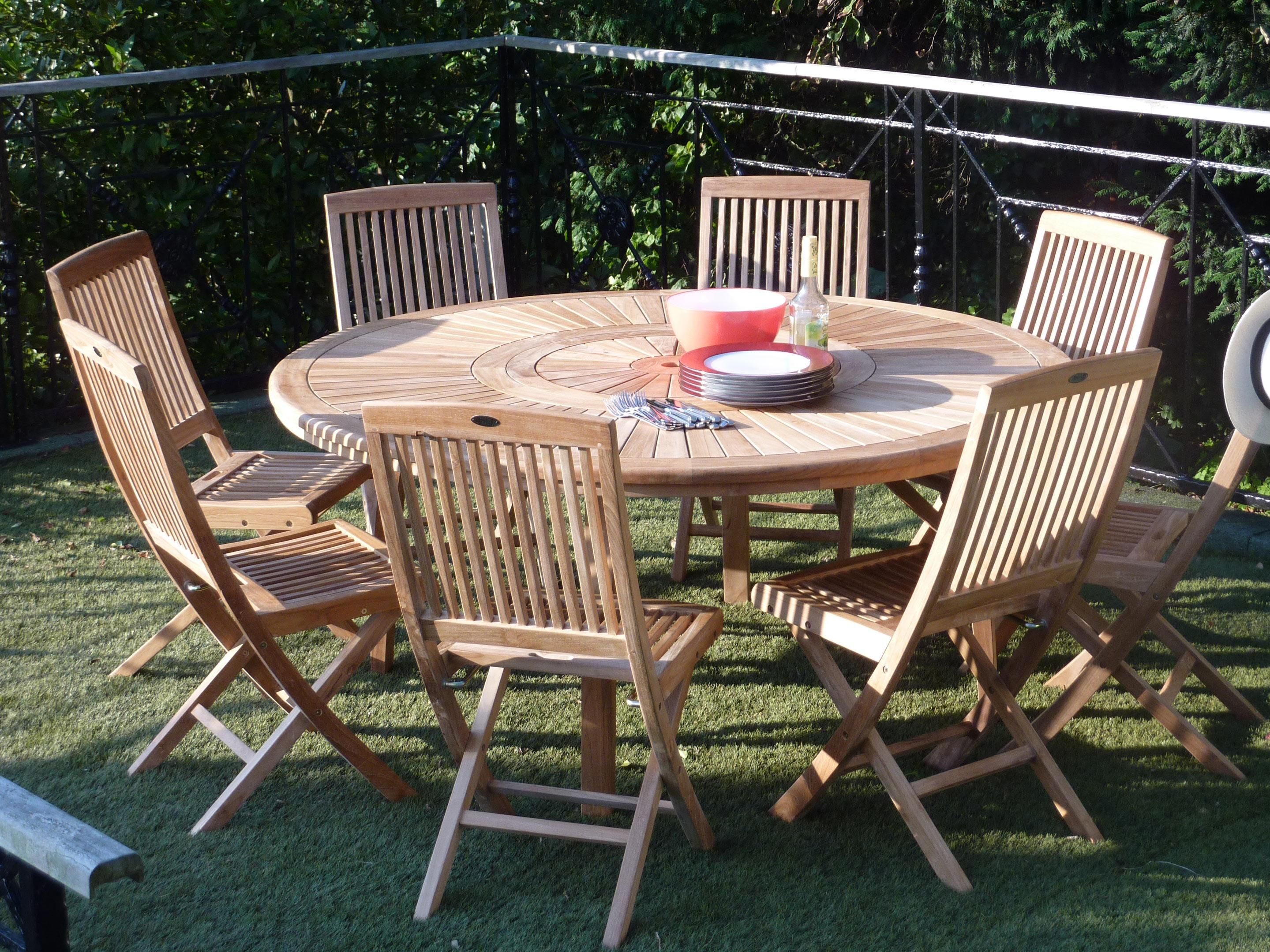 Table De Jardin De Repas Orion Ronde Naturel 8 Personnes Table