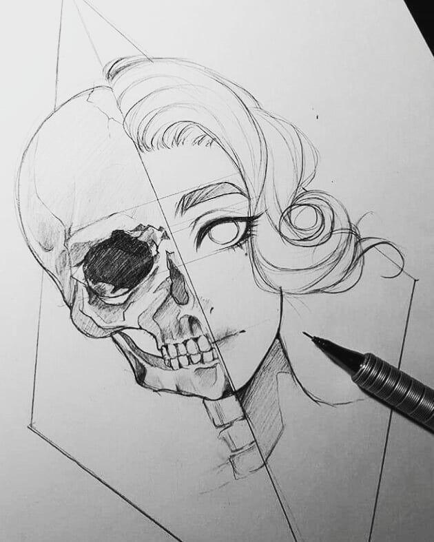 Dies ist eine interessante Zeichnung, aber der Schädel ist sehr falsch. Ich würde gerne mal versuchen – Merys Stores