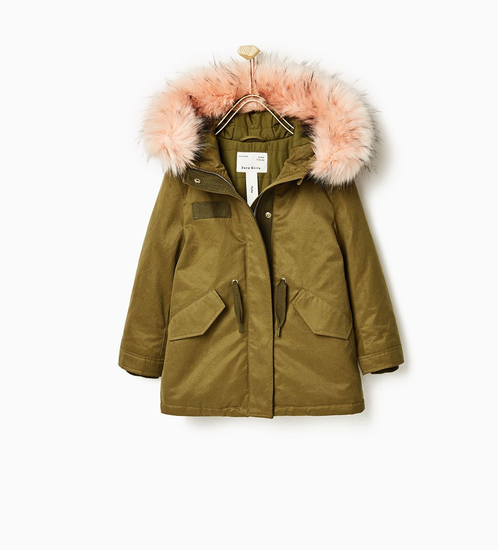 0262ec8945fa Image 1 of PINK FAUX FUR PARKA from Zara