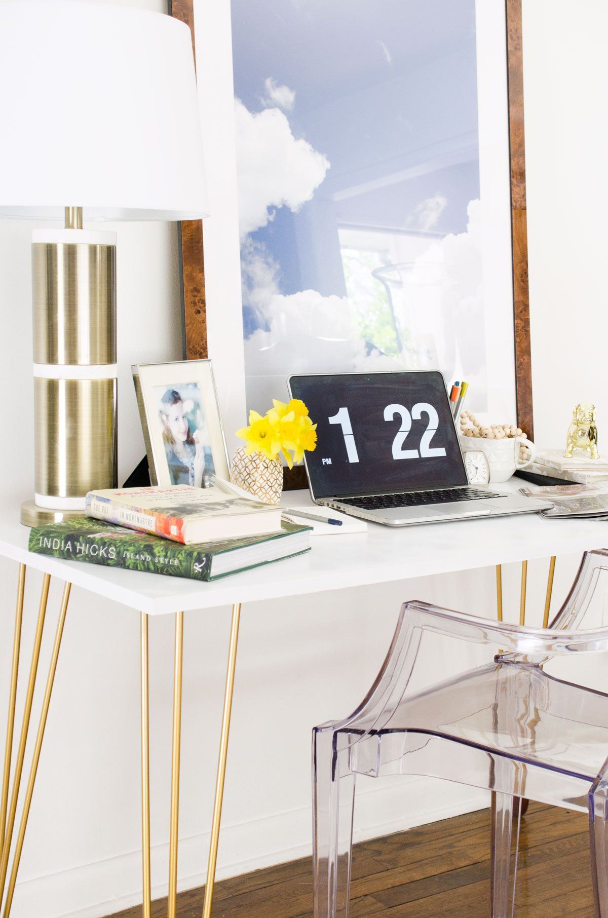 Diy Desk With Gold Hairpin Legs Thou Swell Diy Desk Home Office Table Diy Modern Furniture