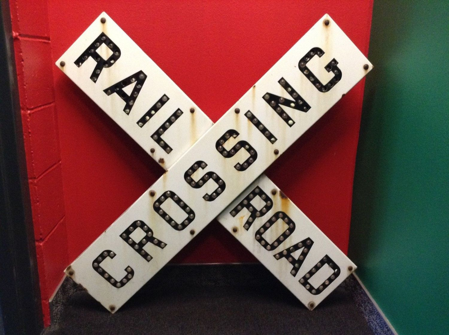 Vintage RAILROAD CROSSING Sign With Cat Eye Reflectors by