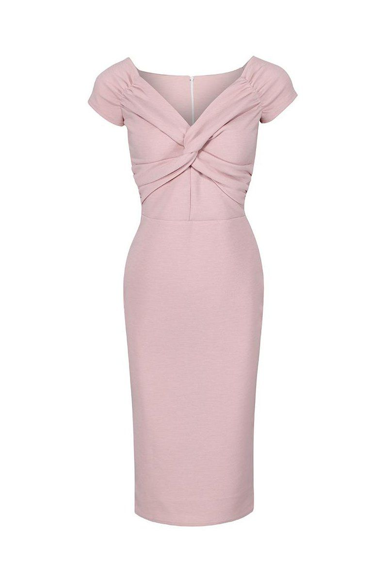 Blush pink crossover pinup pencil wiggle dress goodwood dresses