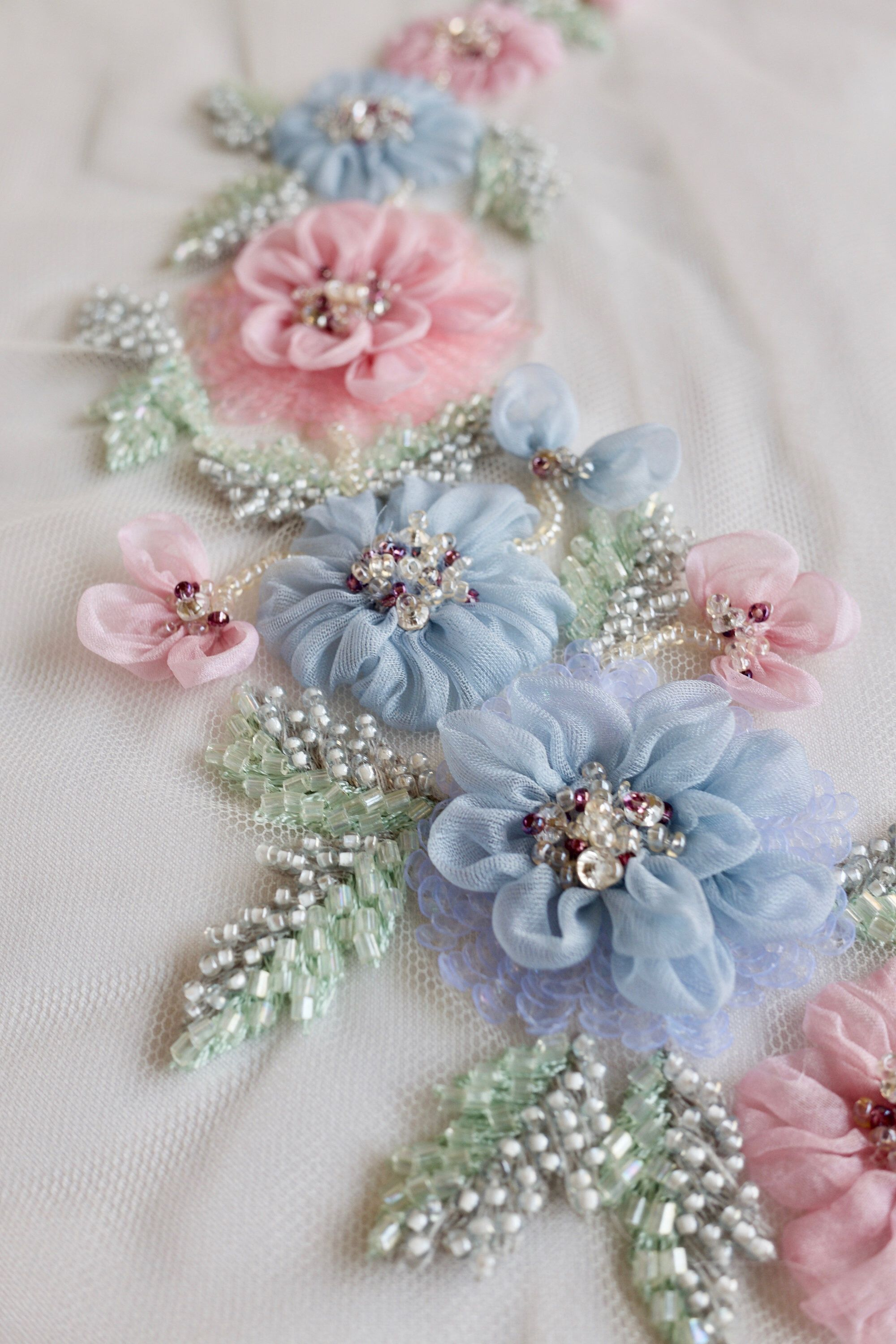 Hand Made Floral Applique In The Pastels Of Spring Silk Ribbon