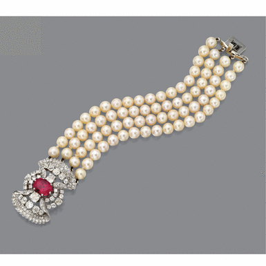 Pink Sapphire diamond and cultured pearl bracelet/brooch combination, Petochi