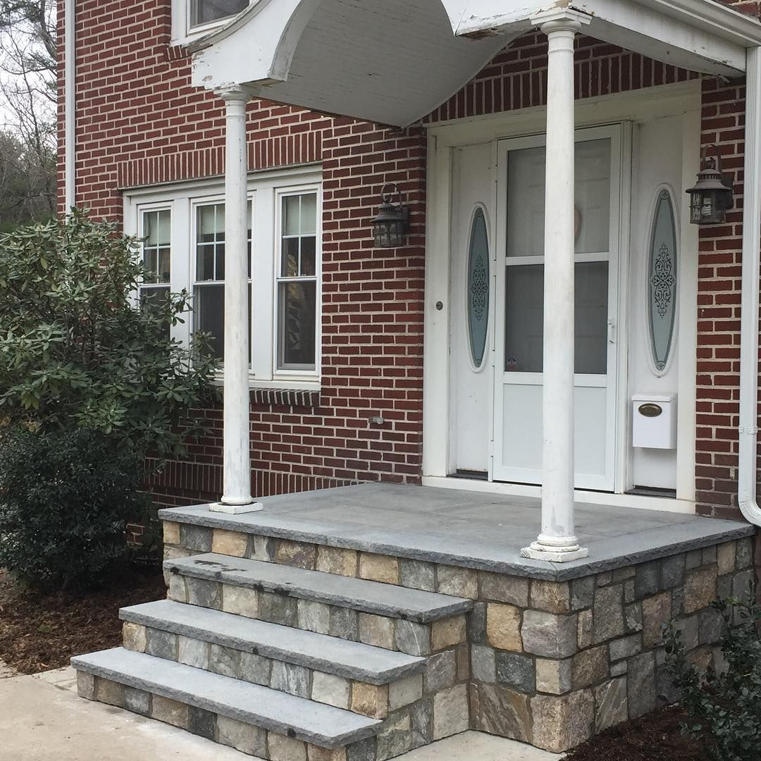 Stone Walls Front Step Rehab In Stafford CT. Ash Granite Stair Treads With  Square Fieldstone
