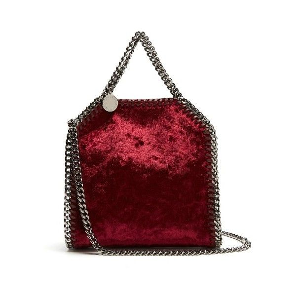 1b665410e7 Stella McCartney Tiny Falabella velvet cross-body bag ( 770) ❤ liked on  Polyvore featuring bags