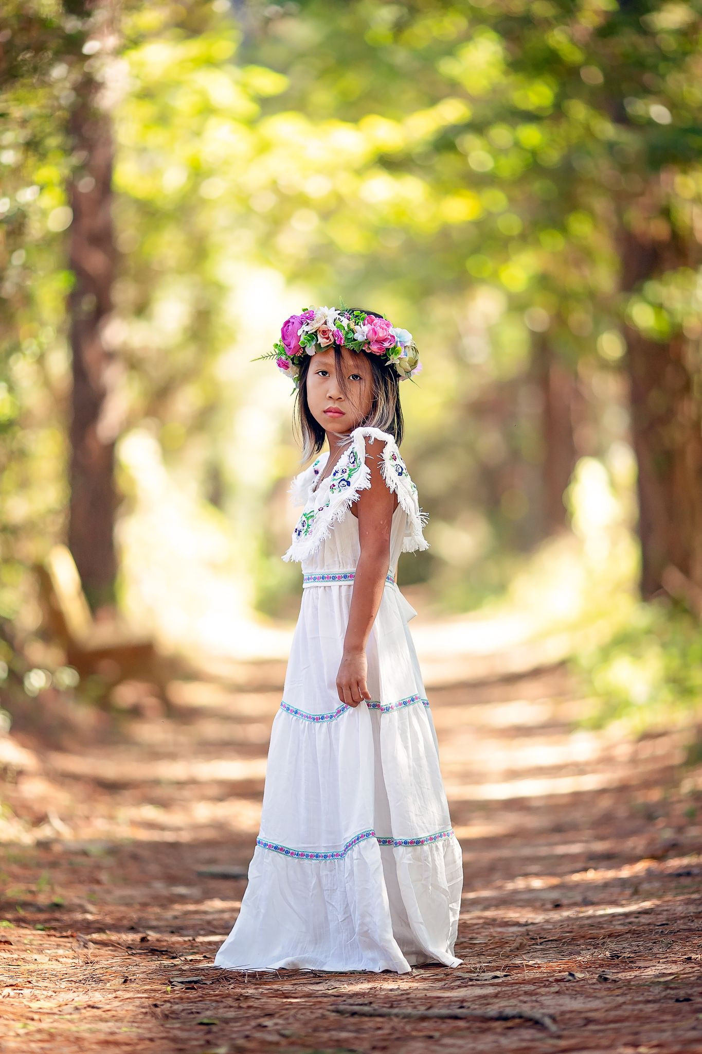662aa28a Boho chic off shoulder maxi dress with floral embroidery for your toddler,  girl, or tween.