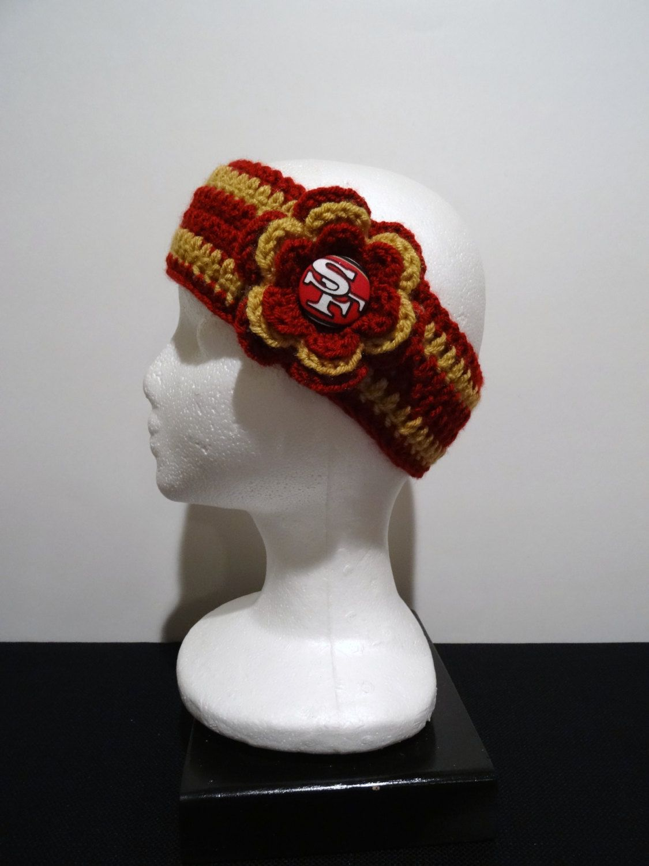 Crocheted+Earwarmer 49ers Crochet, Crochet hats, Etsy