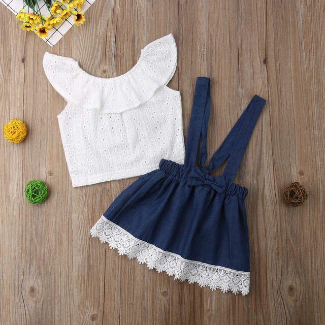 Pretty Lace recién nacido Niño niña fuera del hombro Tops sin mangas camisa general falda trajes ropa conjunto