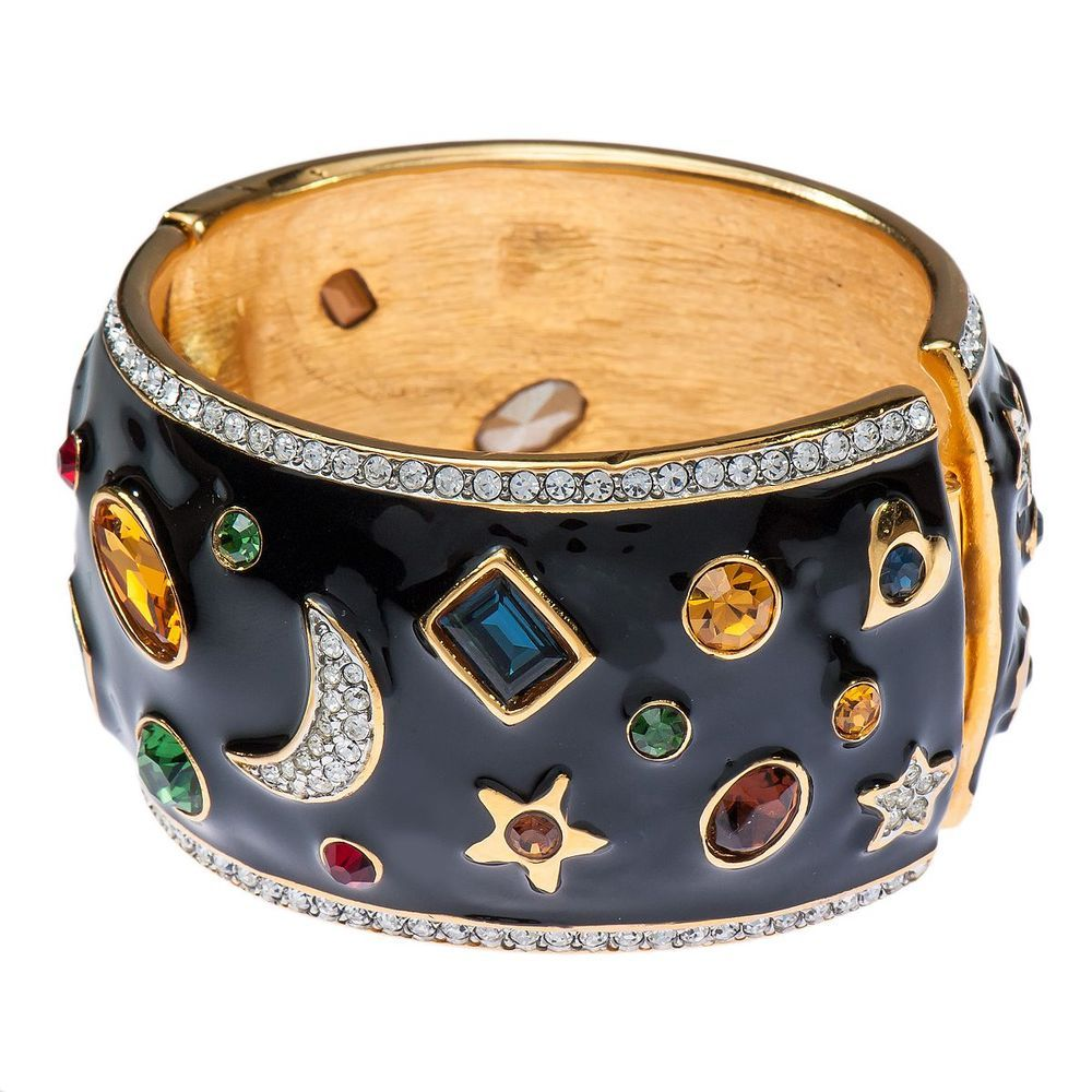 Kenneth Jay Lane Black Enamel Crystal Multi Gem Moon Star Cuff Bracelet #KennethJayLane #Cuff