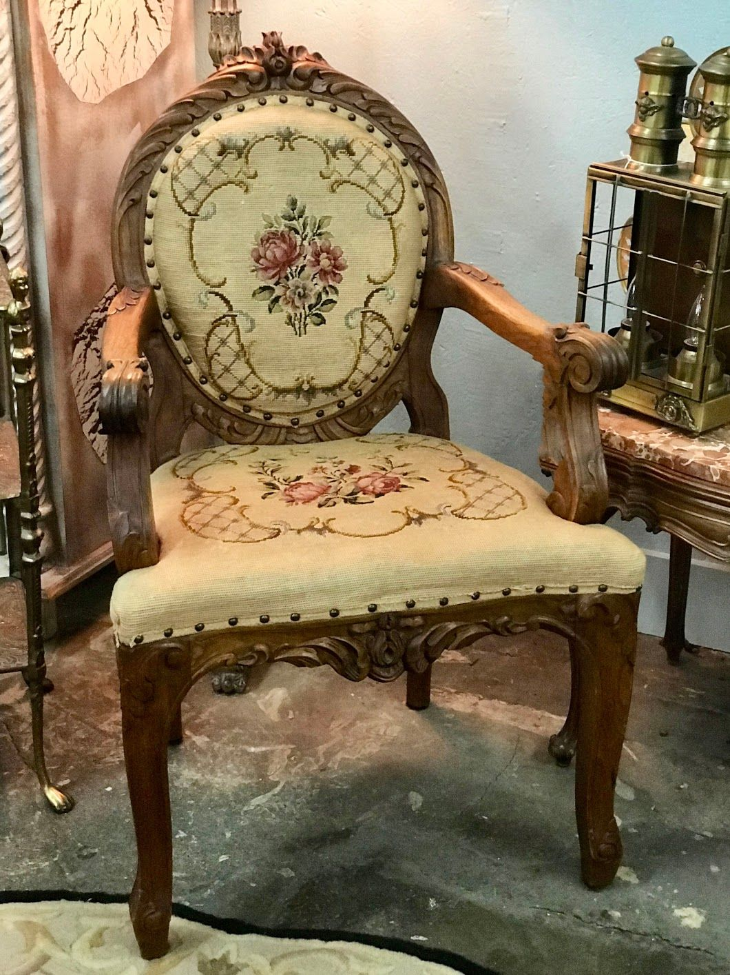 French Antique Needlepoint Horse Hair Armchair On Sale Was $399 Sale ...