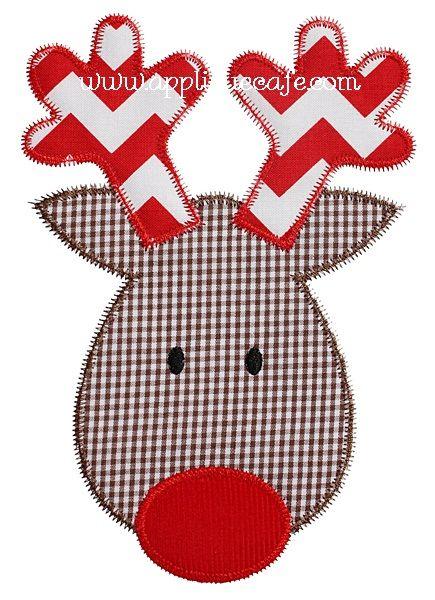 Zig Zag Reindeer Applique Design Costura Natal Enfeites