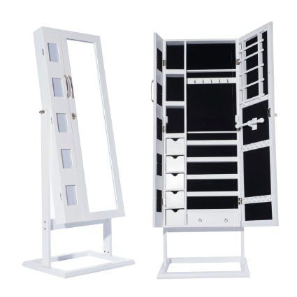 DXP Schmuckschrank Spiegelschrank Standspiegel Weiß 150 x 56 x 44 cm ...