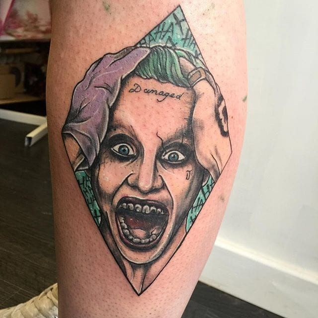 12 tormenting jared leto joker tattoos tattoos calf. Black Bedroom Furniture Sets. Home Design Ideas