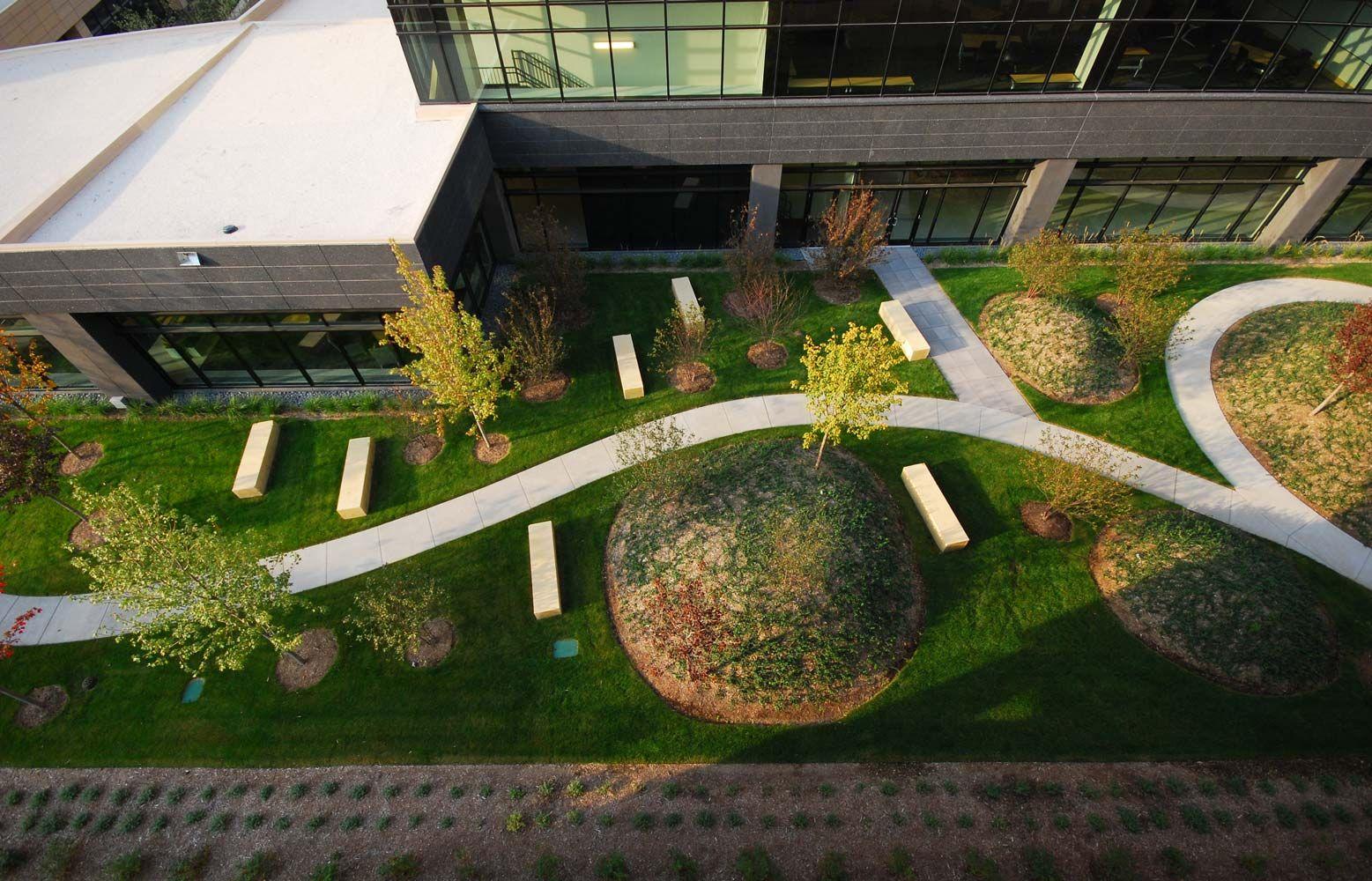 Corporate Landscape At United Health Groupu0027s Minnesota Headquarters.  Modern, Path, Concrete, Limestone