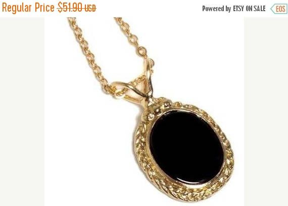 SALE 14K Gold Filled statement necklace with Braided oval pendant inlaid with Black Onyx ,14K Gold plated necklace with oval pendant